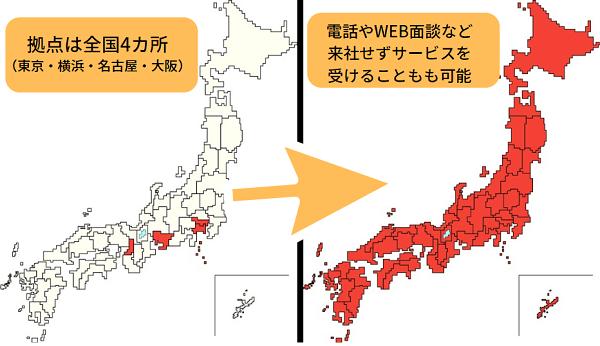 いい就職ドットコムは拠点は東京、横浜、名古屋、大阪だが、全国対応が可能